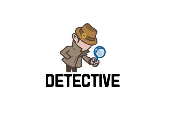 Detective Magnifying Searching Man Symbol Logo Detective Magnifying Searching Man Symbol Logo Design Illustration detective stock illustrations
