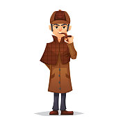 Detective man character smoking pipe design, cartoon flat style, vector color illustration eps10