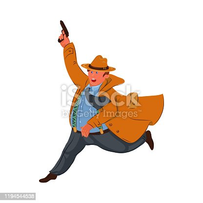 Retro fat detective wearing a brown hat and coat running with a raised hand with a gun. Cartoon private detective character shoots up a warning shot. Isolated vector illustration on white background