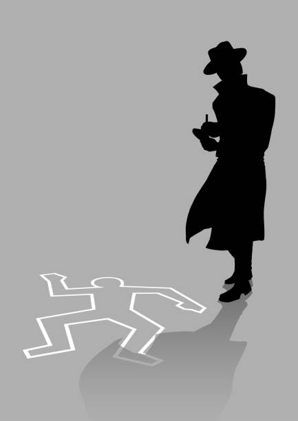 Detective on crime scene Silhouette illustration of a detective on crime scene detective stock illustrations