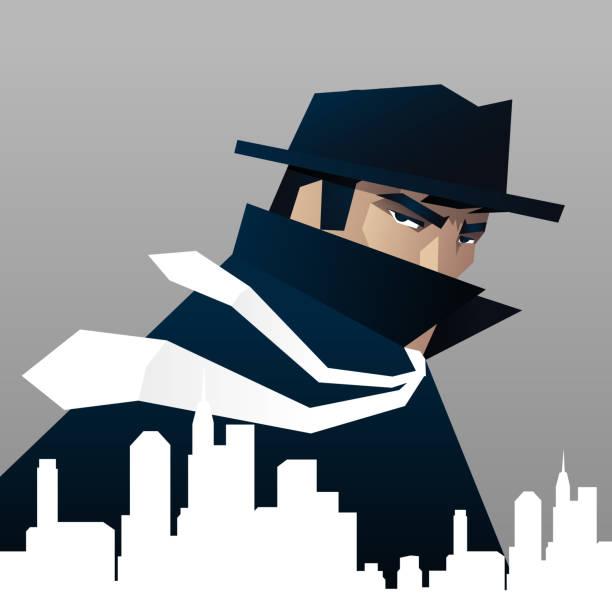Detektiv Private investigator Spionage auf die Stadt – Vektorgrafik