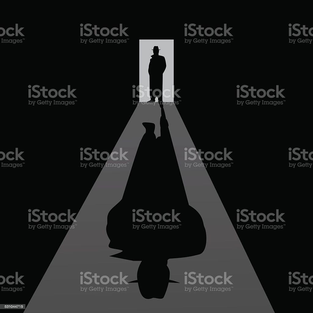 Detective. Retro illustration. vector art illustration