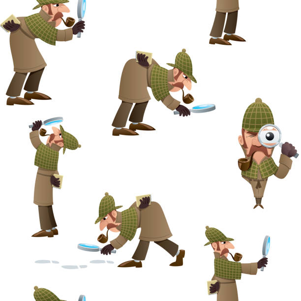Detective Seamless Pattern Seamless pattern with cartoon detective in different poses. sherlock holmes stock illustrations