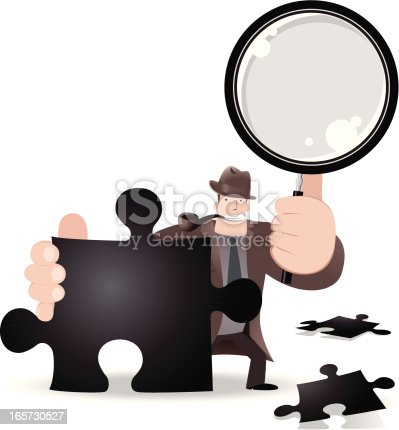istock Detective Searching A Jigsaw Solution With Magnifier 165730527