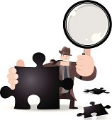 Vector illustration - Detective Searching A Jigsaw Solution With Magnifier.