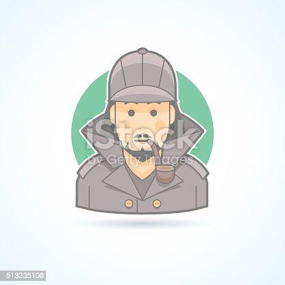 istock Detective, Sherlock Holmes, snoop icon. Avatar and person illustration. 513235108
