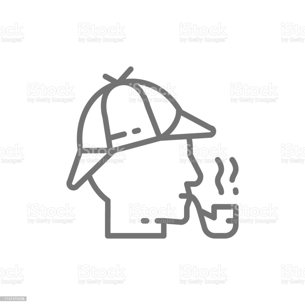 6052c9c10 Detective Sherlock Holmes With Smoking Pipe Line Icon Stock ...