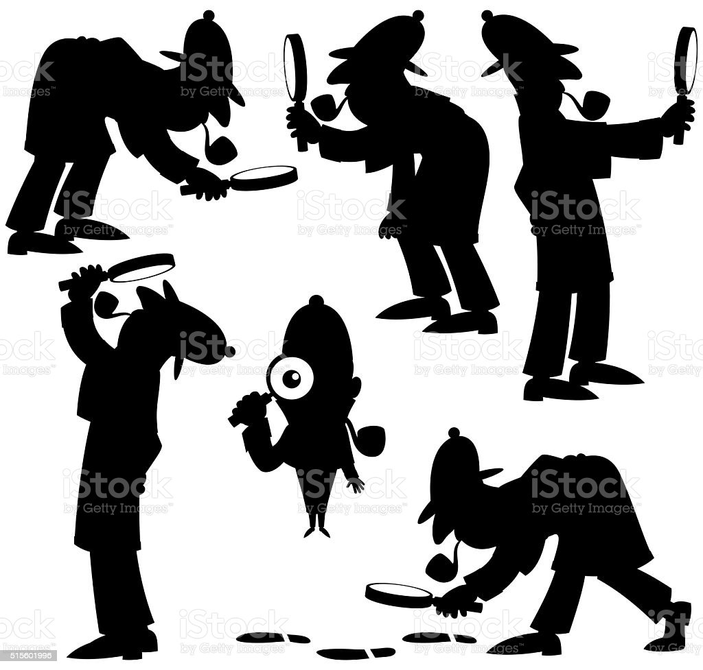 Detective Silhouettes vector art illustration