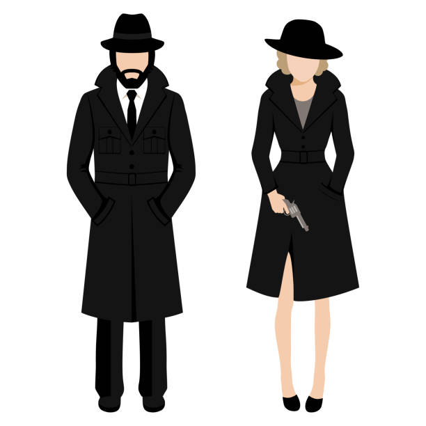 detective spy man and woman character. private ivestigation agent. mafia gangster Vector illustration of a detective spy man and woman character. private ivestigation agent. mafia gangster detective stock illustrations