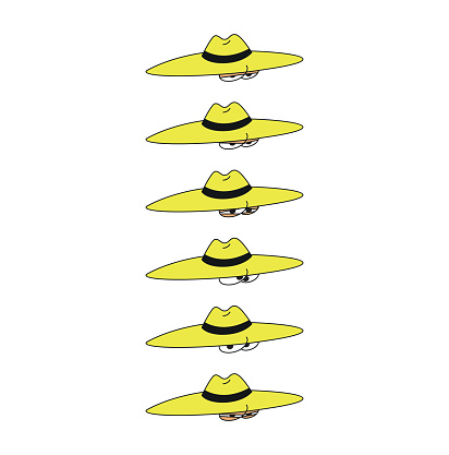 detective style hat and facial expressions character in vector