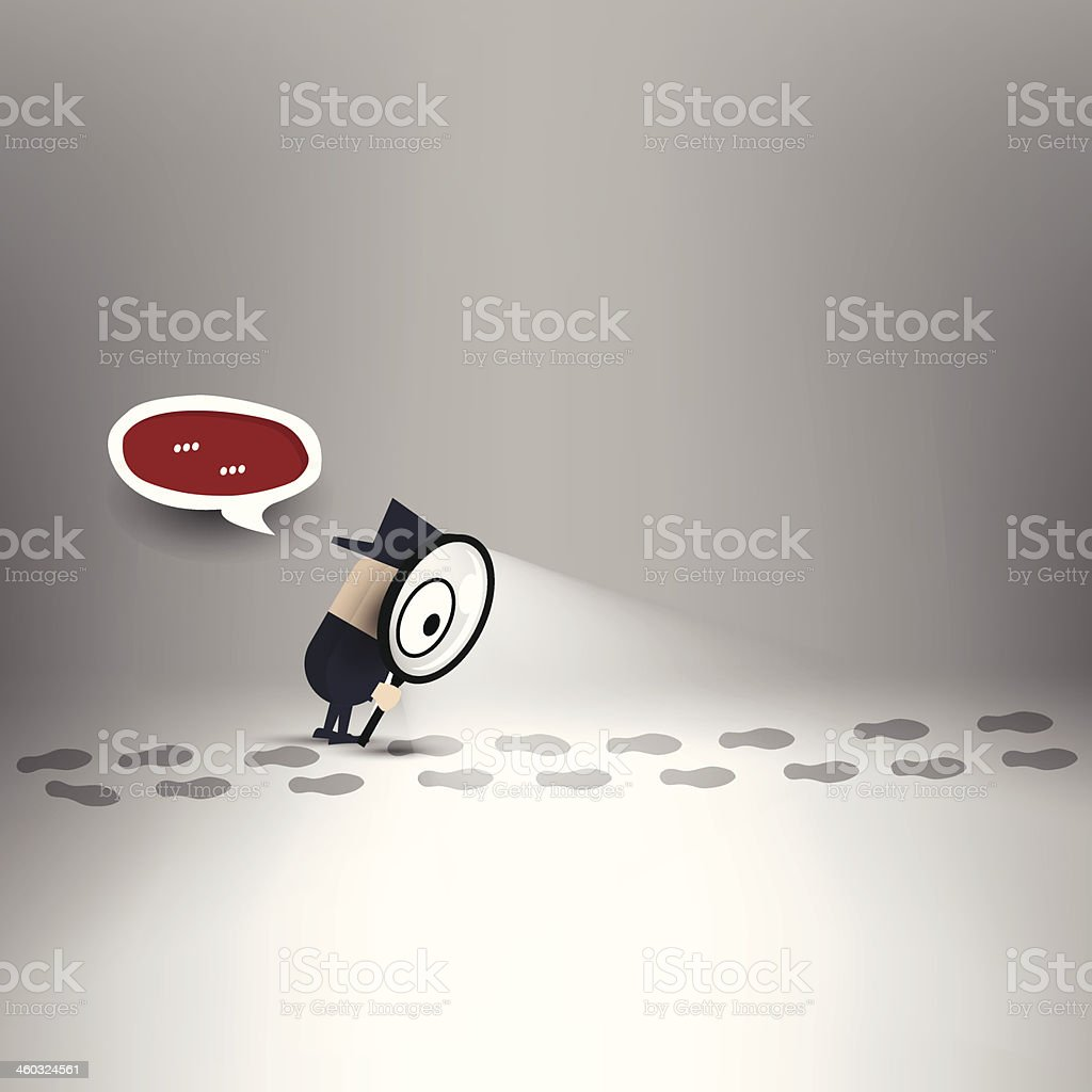 Detective traces vector art illustration