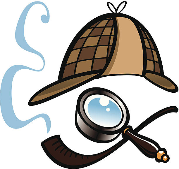 Detective Detectives hat, magnifying glass and smoking pipe sherlock holmes stock illustrations