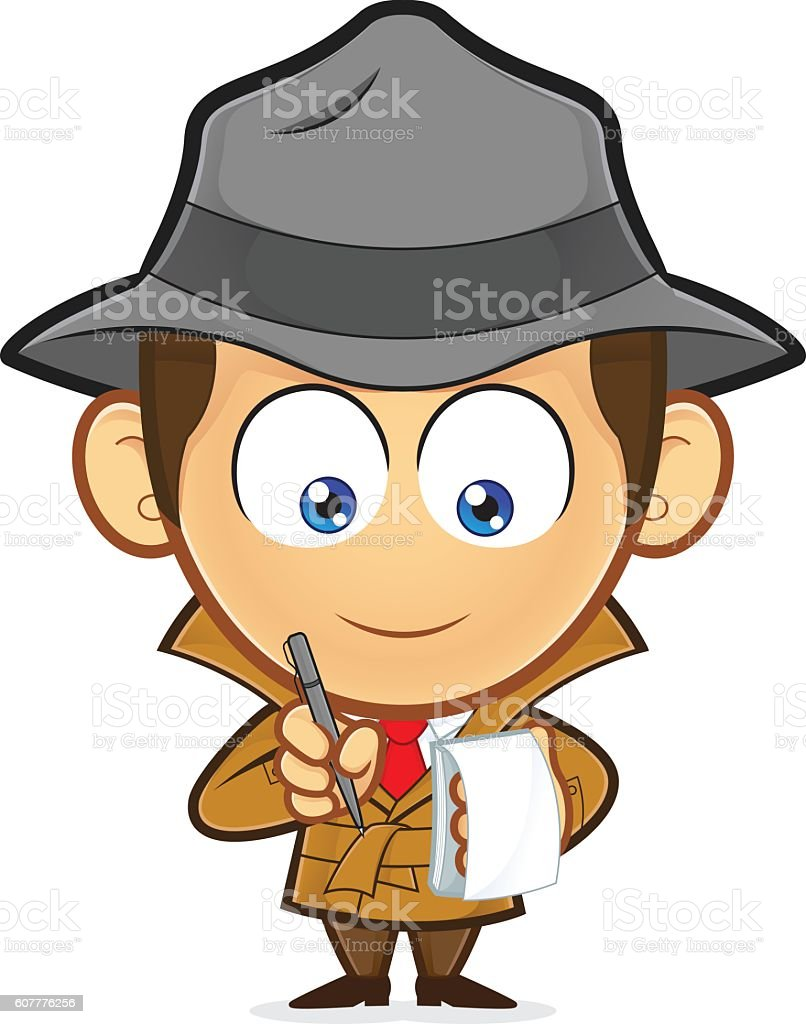 Detective with a notepad and pen vector art illustration