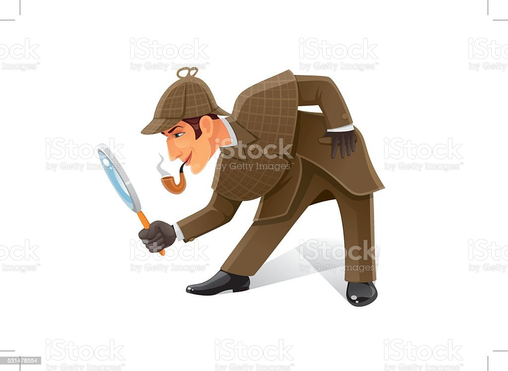 detective with magnifier glass vector art illustration