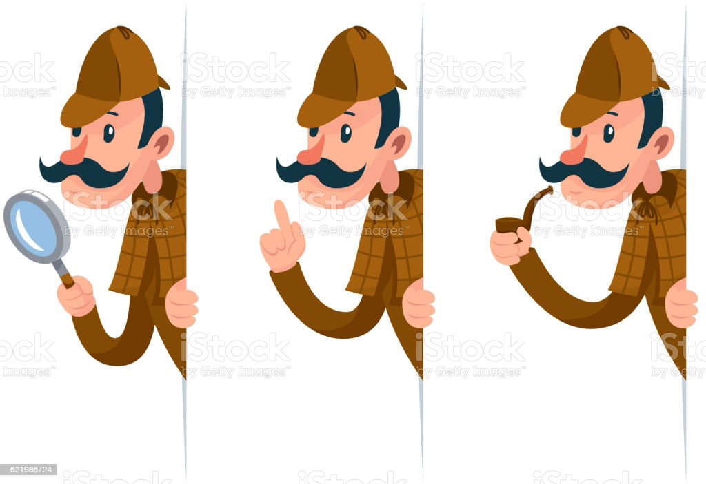 Detective with magnifying glass peeking out of the corner cartoon vector art illustration