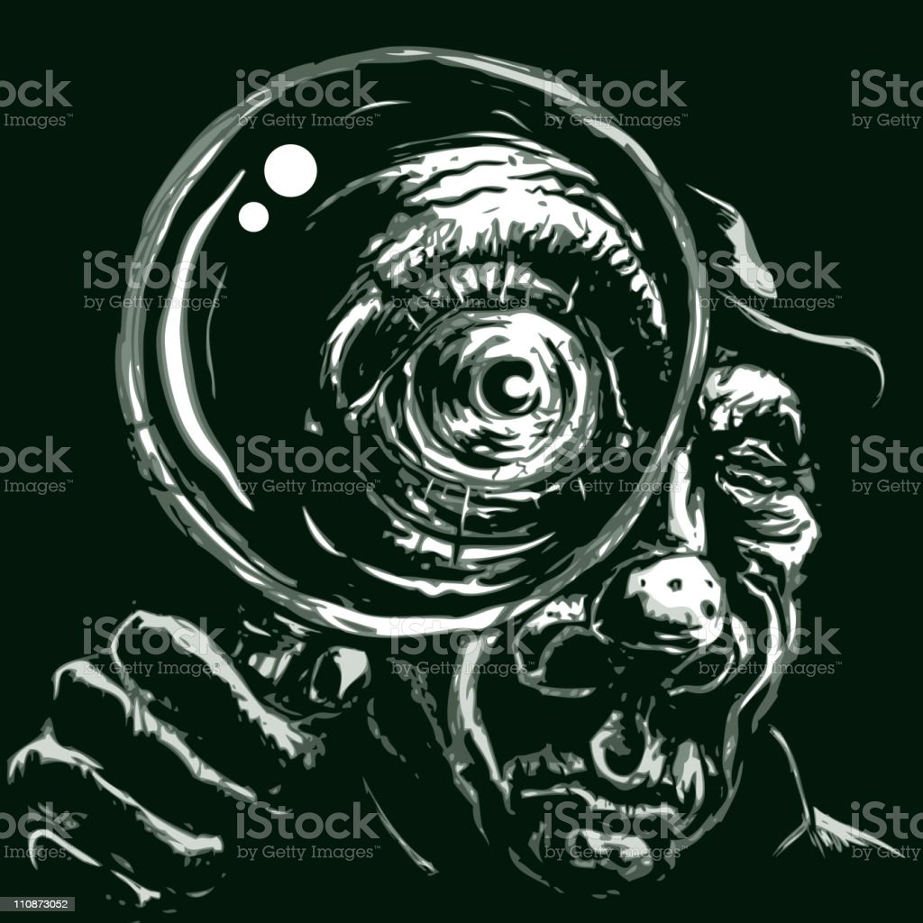 Detective with magnifying glass royalty-free stock vector art