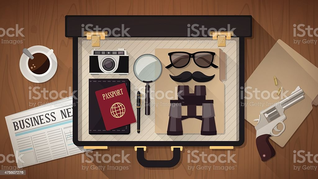 Detective's briefcase vector art illustration