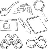 Detective's tools in sketch stle, black and white