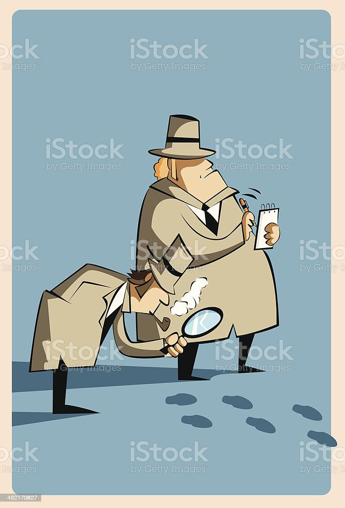 Detectives with magnifying glass and notepad examining footprints vector art illustration
