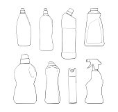 Detergent bottle and chemicals household product. Vector illustration