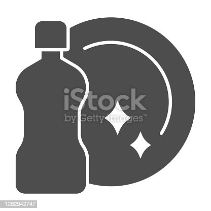 istock Detergent bottle and clean plate solid icon, Cleaning service concept, Dishwashing liquid and plate sign on white background, Hygienic dish with detergent icon glyph style. Vector graphics. 1282942747