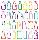vector illustration, detergent bottle silhouettes, cleaning agent, chemical detergerts, liquid detergent bottles
