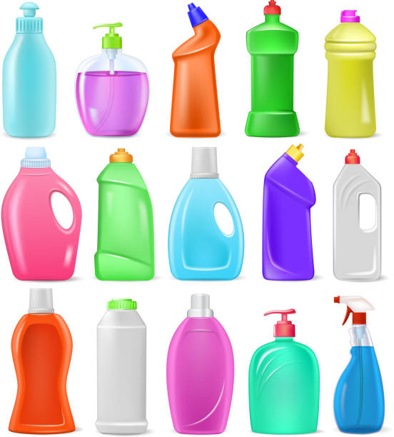 waschmittel flasche vektor cartoon leere kunststoffbehälter mit det - weichspüler stock-grafiken, -clipart, -cartoons und -symbole