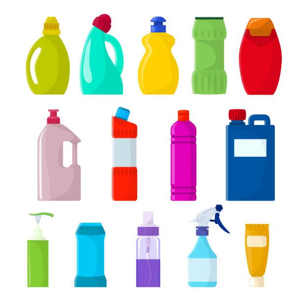illustrazioni stock, clip art, cartoni animati e icone di tendenza di detergent bottle vector plastic blank container with detergency - addetto alle pulizie