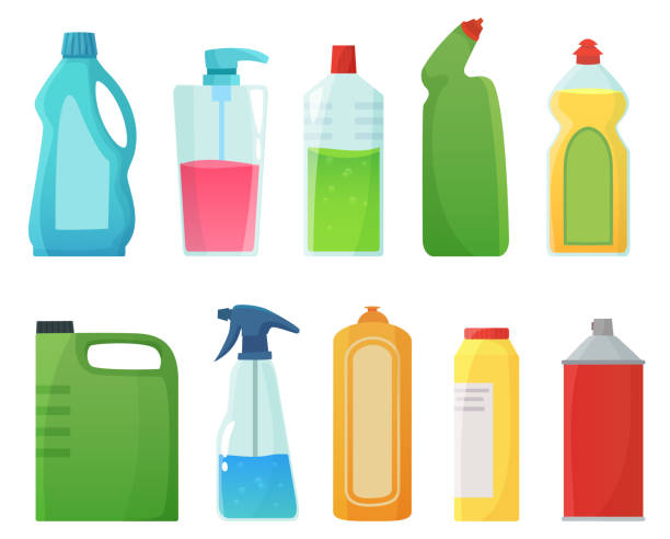 detergent bottles. cleaning supplies products, bleach bottle and plastic detergents containers cartoon vector illustration - bleach stock illustrations