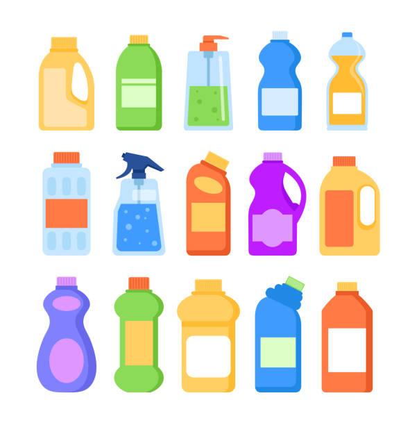detergent cleaner bottles isolated icon set. vector flat graphic design illustration - bleach stock illustrations