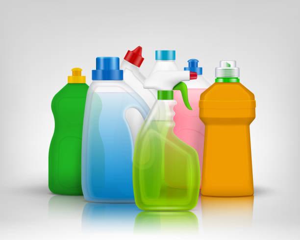 detergent color bottles composition realistic - disinfectant stock illustrations