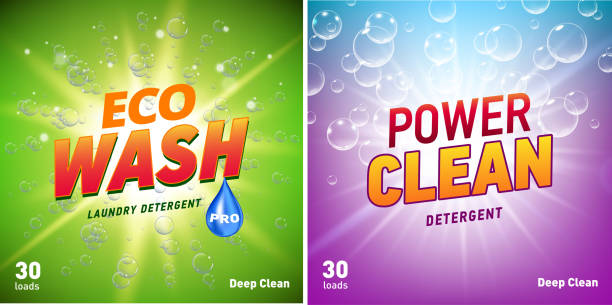 detergent packaging concept design showing eco friendly cleaning and washing. Detergent package with eco logo. detergent packaging concept design showing eco friendly cleaning and washing. Detergent package design template with eco logo. Vector illustration bathroom backgrounds stock illustrations