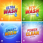 detergent packaging concept design showing eco friendly cleaning and washing. Detergent package design template with eco logo. Vector illustration