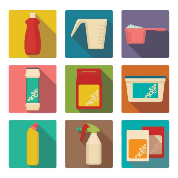 illustrazioni stock, clip art, cartoni animati e icone di tendenza di detergent scoop in plastic containers isolated illustrations set - dose
