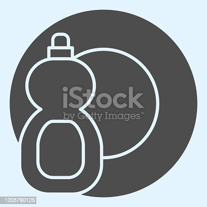 istock Detergent solid icon. Dishwashing liquid in bottle and plate. Home-style kitchen vector design concept, glyph style pictogram on white background, use for web and app. Eps 10. 1205790125