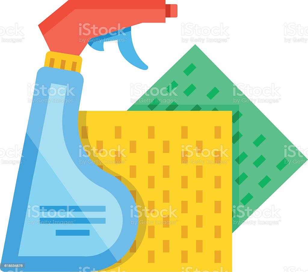 Detergent spray bottle, sponge cloths. Cleaning, washing. Flat vector illustration vector art illustration