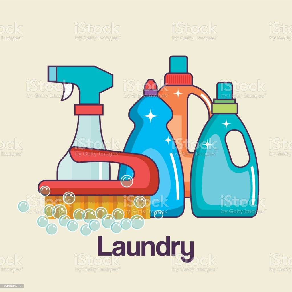 detergents and brush tools laundry and cleaning icon vector art illustration