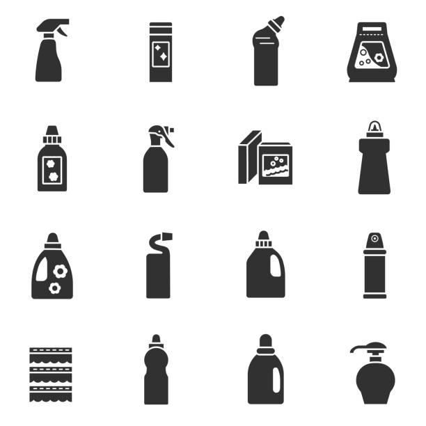 detergents icons set - disinfectant stock illustrations