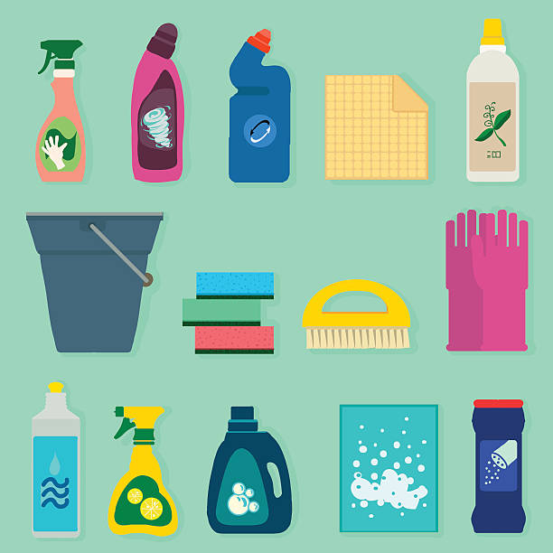 detergents vector set - bleach stock illustrations