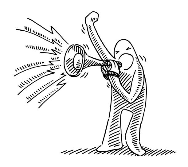 Determined Human Figure With Megaphone Drawing Hand-drawn vector drawing of a Determined Human Figure With a Megaphone. Black-and-White sketch on a transparent background (.eps-file). Included files are EPS (v10) and Hi-Res JPG. cartoon character figure stock illustrations