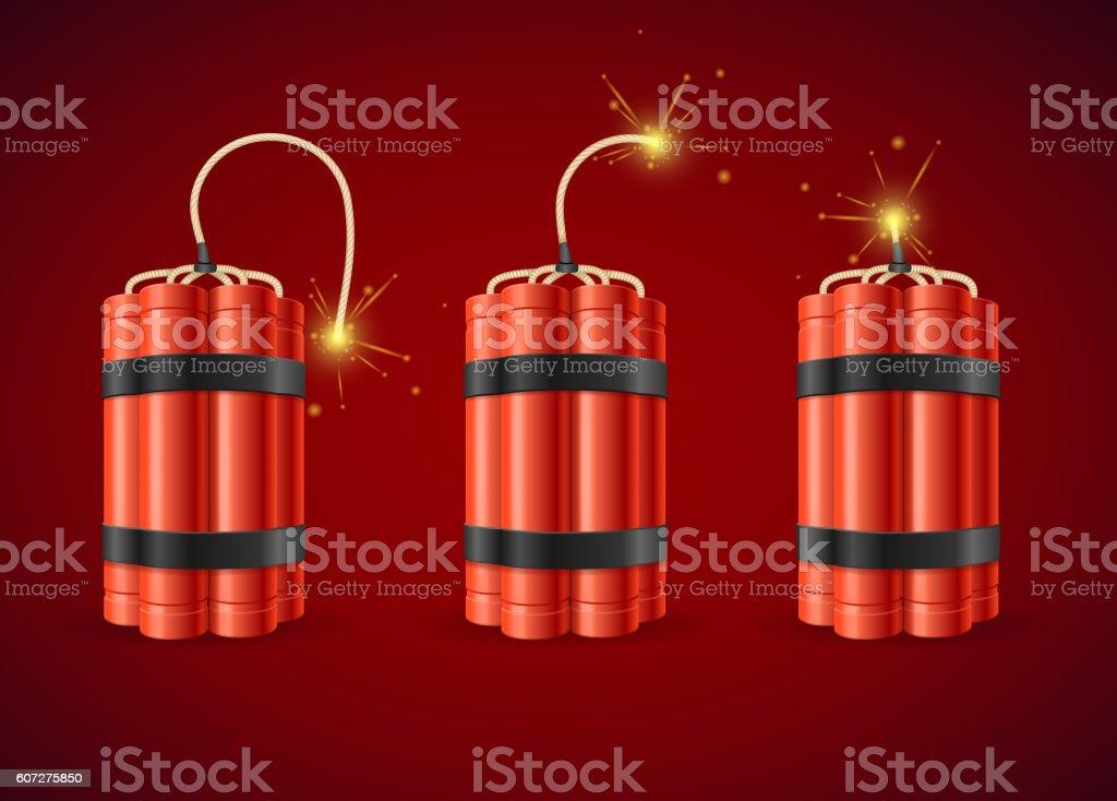 Detonate Dynamite Bomb Set. Vector vector art illustration