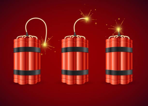Detonate Dynamite Bomb Set. Vector Detonate Dynamite Bomb Set Detonate Dynamite Bomb. Vector illustration explosive fuse stock illustrations