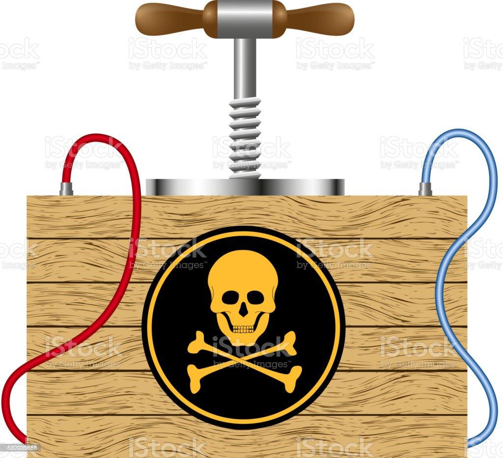 Detonating fuse with danger sign vector art illustration