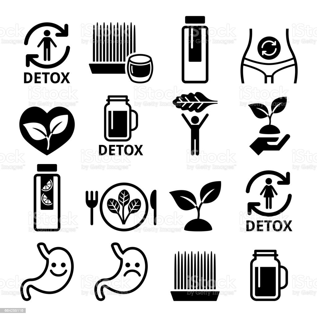 Detox, body cleaning with juices, vegetables or diet icons set vector art illustration