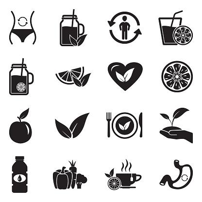 Detox Icons. Black Flat Design. Vector Illustration.