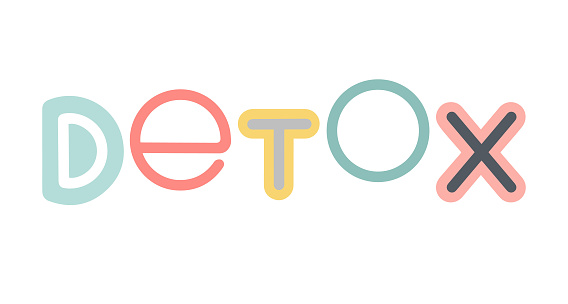 Detox vector lettering. Detox logo emblem design for healthy food and drink products.