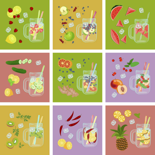 Detox water with Fruits vector art illustration