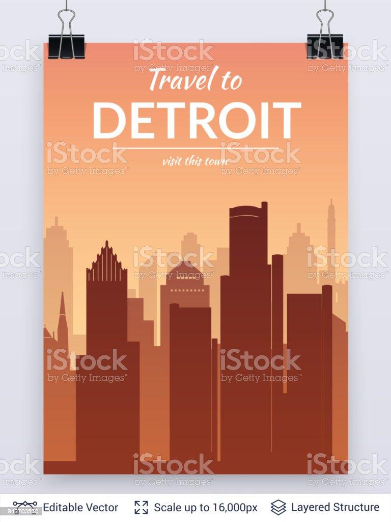 Detroit Famous City Scape Stock Illustration - Download