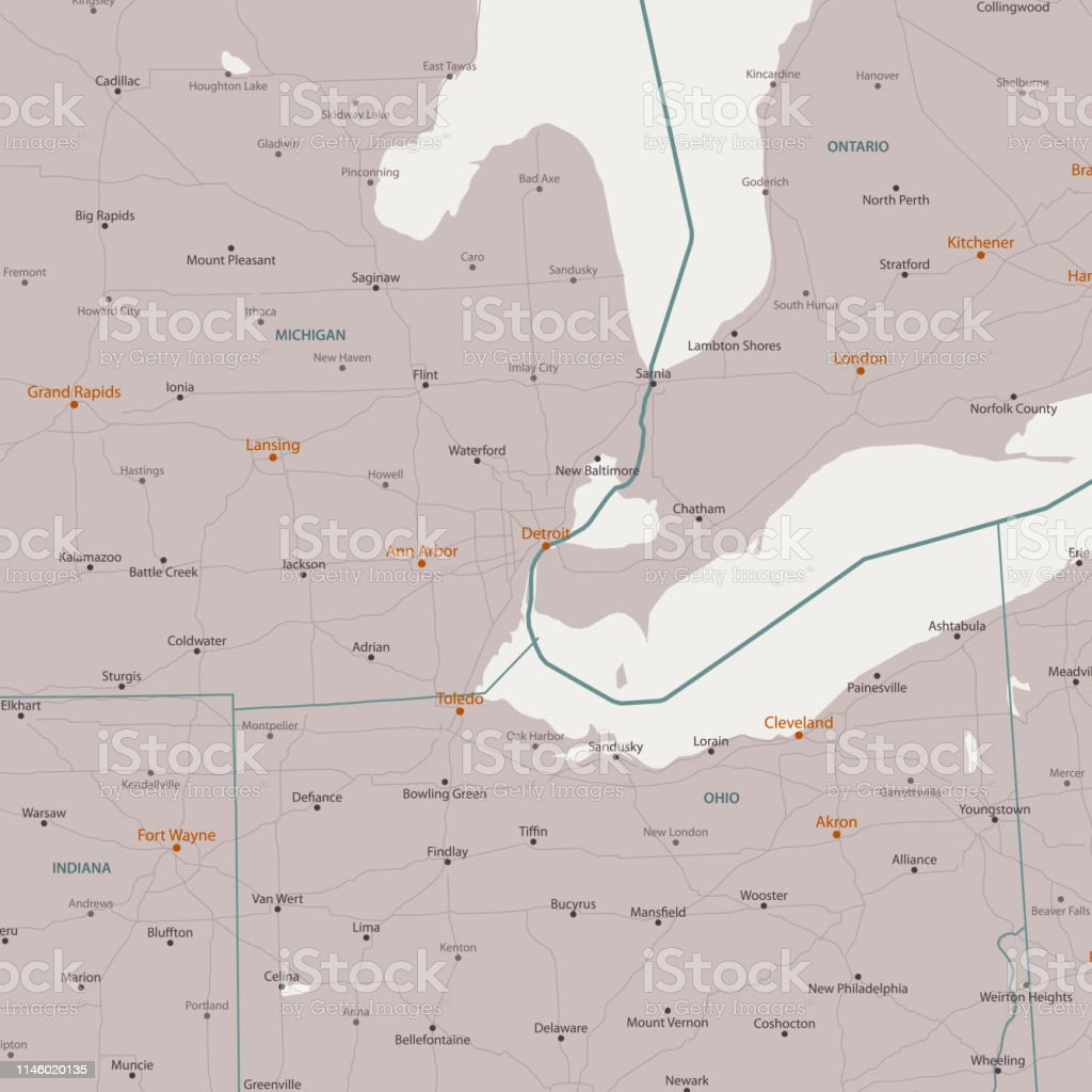 Detroit Michigan Area Vector Map Stock Illustration Download Image Now Istock
