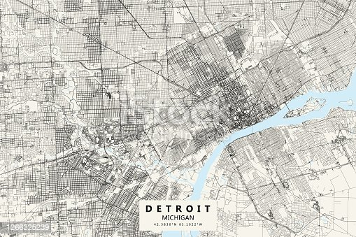 Poster Style Topographic / Road map of Detroit, MI, USA. All maps are layered and easy to edit. Roads have editable stroke.